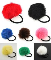 Cheap 5pcs girl women lovely rabbit fur pompom elastic hair band fur ball hair accessorily for girls' hair accessories 62446