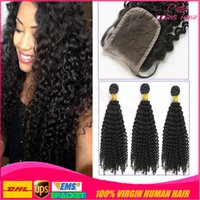 afro kinky human hair - 7A Afro kinky Curly Virgin Hair lace closure free part with Bundles Kinky Curly Human Hair Weave pieces huaman hair extensions