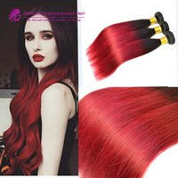 acid red dye - Top quality red ombre colored two tone virgin malaysian hair weaves bundles ombre hair extensions red hair weft