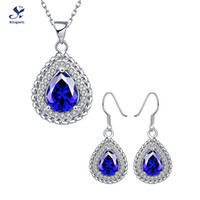 Wholesale S049 C high quality fashion k gold bridal jewelry sets for women synthetic sapphire earring and necklace jewelry sets nice packing