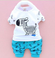 baby horses sale - hot sale fashion baby boy girl clothing set printing cartoon horse tops T shirt horse pants baby suit