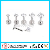 Wholesale 16G Surgical Steel Triple Forward Helix Internally Threaded Prong Set CZ with Flat Bottom Labret of
