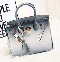 big briefcases - Fashion blue Gradient color Briefcase platinum bag big tide female bag briefcase brand fashion female package