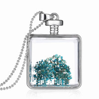 ball lockets - Square Crystal glass locket Necklaces Pendants New Creative Floating charms Blue Dried flowers Ball Chain Statement Necklaces LN91