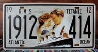 atlantic plate - new Titanic Atlantic Ocean Vintage License plate Poster Retro Metal Painting Tin Plate Bar Wall Sticker Home Art Decor Tin sign