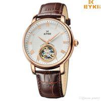 eyki - 2016 Mens Watches Top Brand Luxury Fashion Casual Wristwatches EYKI Mechanical Hand Wind Leather Dress Party Watch Waterproof
