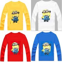 Wholesale 2016 Super Hot Cartoon Anime Figure Despicable Me Minions Clothes Long Sleeves T shirts Minion Costume Kids Clothes Girls Boys MYF234