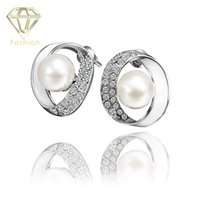 baked beads - Cool K Rose White Gold Plated Baked Enamel Studs Earring with AAA Cubic Zirconia Simulated Pearl Bead Earrings Jewelry