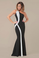 Wholesale Vestido Long New Women Formal Evening Dress Mermaid Fishtail One Shoulder Backless Sexy Long Party Prom Black and White Maxi Dress