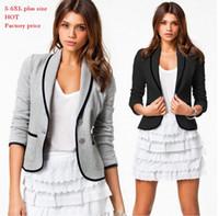al por mayor jacket 6xl-Mujer casual Blazers, chaquetas Cortas de Moda de la marca del Diseñador de lady Primavera Otoño Gire hacia Abajo de Collar Delgado de Color Caramelo de la Chaqueta de la Capa más el tamaño de S-6XL