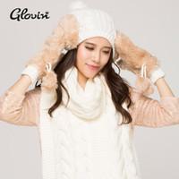 achat en gros de womens gants bonnet tricotés-Livraison gratuite gros-New Style Knitting Hat, Écharpe Glove Womens Winter Set cadeau de 5 Couleurs amie