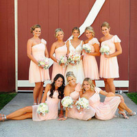 Cheap New 2015 Peach One Shoulder Chiffon Short Real Sample Bridesmaid Dresses For Wedding Party Dress Formal Vestido De Festa Curto Free Shipping