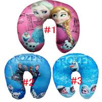 Wholesale XMAS Frozen Elsa Anna Pillow Baby Foam Particles U shaped Pillow Kids Neck Massage Travel Healthy Pillows Children Holiday Gift GZ GD8