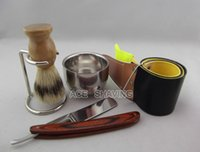 Wholesale Straight razor shaivng set Stainless Steel Barber Razor shaver Folding Shaving Knife stand small bowl set FREE SHIP