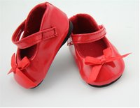 american girl doll lot - Cute Shoes for Inch American Girl Dolls Pair Red Color Leather Shoes With Bow Accessories for Doll Toys