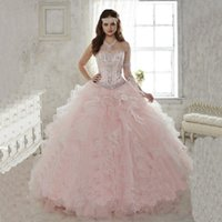 Wholesale 2015 Light Pink Quinceanera Dresses Ball Gowns Sweetheart With Beads Sweet Dress Vestidos De Anos Quinceanera Gowns