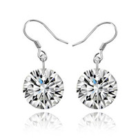 Wholesale 2016 Hot Sterling Silver CZ diamond drop earrings fashion jewelry Zircon Wedding engagement gift
