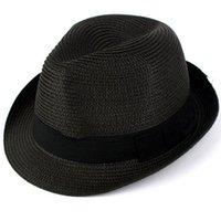 Cheap Fashion Unisex PP Straw Beach Hat Men Women Outdoor Stingy Brim Summer Panama Fedora Cap multi colors