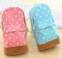 Wholesale Fashion Hot Stationery Multifunctional big capacity pencil case Dot school bag pattern Cute storage box
