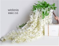 Wedding rattan - 1 Meter Long Pretty Artificial Silk Flower Wisteria Vine Rattan For Wedding Party Decorations Bouquet Garland Home Ornament DHL free