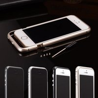 aluminum column cover - 5S Luxury Circle Arc Aluminum Metal Bumper For Apple iphone S G Case Column Shape Frame With Metal Button For iphone5S cover