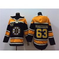 Wholesale Brad Marchand Hockey Hoodies Bruins Black Hockey Uniform Mens Sportswear Hoodies New Hockey Sport Jacket Lace Up Hockey Sweatshirts