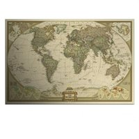 antique maps - Large Vintage World Map Home Decoration Detailed Antique Poster Wall Chart Retro Paper Matte Kraft Paper inch Map Of World A5