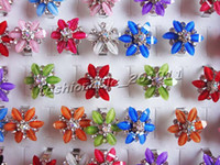 Wholesale Rings Jewelry Flower Resin Rhinestone Silver P Rings r0041