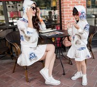 Wholesale 2015 Fashion Mom Girls Flower Sets Family Alikes Outfit Mother Daugther Hooded Floral Jacket Coat Tops Skirts Outfits White D4337