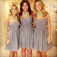 Cheap Reference Images 2017 Gray Short Bridesmaid Dresses Best A-Line Sweetheart Ruffles Knee length Bridesmaid Gowns