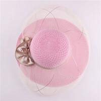Wholesale Unique Design Straw Beach Hats For Ladies Cotton Yarn Braiding Floppy Sun Hat Breathable Lace Wide Brim Hats w082
