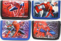Wholesale 12pcs Spiderman Purses kids wallet chilldren money bags Party Gift Favor