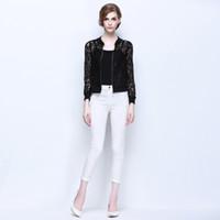 Wholesale 2016 Hot Sale Women Lace Jacket Hollow Out Jacket Women Tops Long Sleeve Slim Black Outwear Women Lace Coat