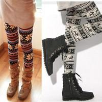 Wholesale Thin style New Arrivals Lady Nordic Deer Snowflake Knitted legging Leggings Tights Pants retail