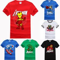 Crew Neck cartoon print t-shirt - HOT Fashion cottonThe Avengers Iron Man hulk thor super hero cartoon DC COMIC Film Fans summer cool short T shirt tees for man S XXL