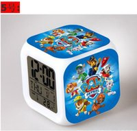 Wholesale Cartoon Puppy Dogs Patrol Alarm Clock LED Colorful Glowing Colors Change Digital Cartoon Dog Alarm Clocks in stock