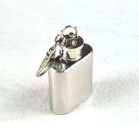 Acheter Alcool trousseau-Hip Hip Flacons portable Mini Keychain 1 oz en acier inoxydable Whisky alcools alcool Pocket Flacon Flagon bouteille d'huile avec Porte-240252