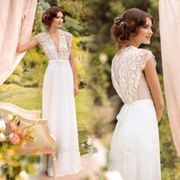 Wholesale Elegant Wedding Dress from Eiffelbride with Sexy Sheer Lace Deep V Neckline and Embellished A Line White Chiffon Beach Bridal Dresses