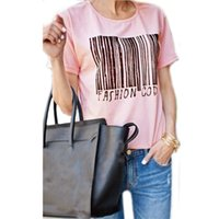 barcode shorts - Fashion New Arrival Summer Style Women Short Sleeve T shirt Casual Barcode Pattern Letter Print O neck Cotton Tops Tee Blusas