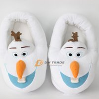 Wholesale EMS new frozen doll Shoes Home slippers Olaf Warm Plush Stuffed Casual slipper snowman Shoes gift for adult man woman J123101