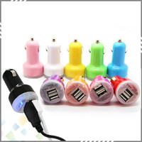 Wholesale Colorful Dual USB Port Car Charger Cigarette A Auto Power Adapter for iphone ipad Samsung high quality