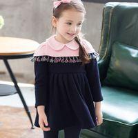 best baby doll dress - 2015 Winter Kids Fashion Patchwork Elegant A line Dress Best Sale Baby Girls Tassel Doll Collar Sweet Princess Dress Childrens Clothing
