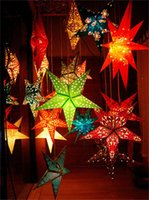 Wholesale Lantern Festival layout props can match light five pointed star pendant hollow out decorative Christmas gift bar