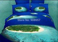 beach decor bedding - blue green beach d print bedding set oil painting textile Egyptian cotton quilt duvet covers girls home decor full queen size