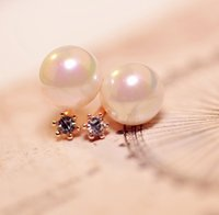 ah fashion - 2015 Brincos Ouro Stud Sapphire Jewelry The New South Korean Version Hot selling Fashion Diamond Pearl Earrings Exquisite High end Ah Good