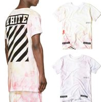 men shirts and ties - SSENSE Off White Virgil Abloh Red and Orange Blue and Purple Tie Dye T shirt Short Sleeve Kanye West Shirts Street Tee Tops