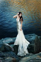 Cheap New Arrival 2014 Berta Sexy V-Neck Wedding Dresses Beading Cross Back Sweep Train Lace Bridal Gown