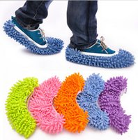 Wholesale 2016 Pairs Dust Chenille Microfiber Mop Slipper House Cleaner Lazy Floor Cleaning Foot Shoe Cover by DHL
