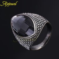 antique coolers - FG Latest Antique Silver Plated Big Gray Austrian Crystal Cool Ellipse Ring Mens Jewelry Fashion