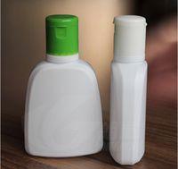 acid shampoo - 50piece ml PE Empty Bottle Refillable Bottles Cleansing Cream Shampoo White Flat Flip Top Bottles